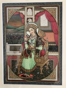 Original Indian Miniature Painting Portrait Mughal Queen Resin Ivorine Framed