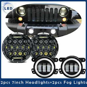 7 Led Headlight Led Fog Turn Signal Light Combo Kit Jeep Wrangler Jk 2007 2017