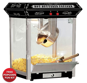 Popcorn Machine 4oz Hot Oil Tabletop Black Ft421cb New Free Shipping