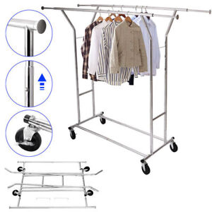 Commercial Collapsible Grade Double Rolling Clothing Garment Rack Hanger Holder
