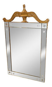 Vintage Art Deco Style Etched Glass Wall Mirror W Carved Burnished Gold Frame