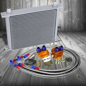 30 Row 10an Silver Aluminum Engine Transmission Oil Cooler Silver Relocation Kit