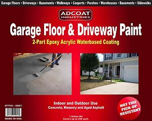 Adcoat Garage Floor Driveway Paint Waterbased 2 part Epoxy 1 G Kit Grey
