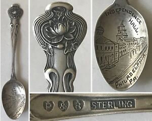Antique Paye Baker Pond Lily Sterling Philadelphia Pa Independence Hall Spoon
