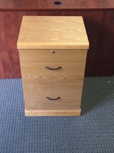 2 Drawer File Cabinet Wooden Oak Colored