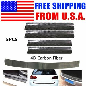 5pcs 4d Carbon Fiber Vinyl Car Door Sill Rear Bumper Trunk Lip Protector Trim