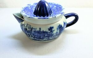 Vintage Victoria Wear Ironstone Juicer Two Pieces Top And Pitcher Navy Blue