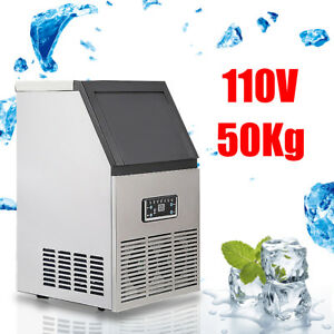 110lbs Auto Commercial Ice Cube Maker Machine Stainless Steel Bar 110v Us Plug
