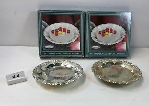 2 New 1990 S International Silver Pedestal Nut Candy Dish Silver Plated U4
