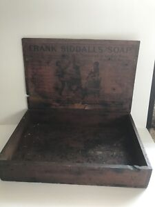 Antique Frank Siddalls Soap Counter Top Display Wood Box Advertising