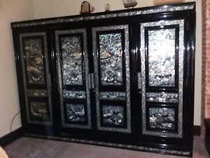 Black Lacquer Inlaid Mother Of Pearl South Korean Armoire Orig Custom Vintage