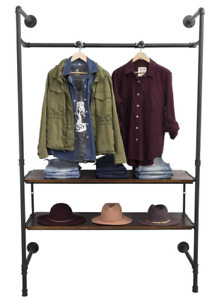 Industrial Pipeline Wall Unit Apparel Display Rack W 2 Dark Brown Wood Shelves