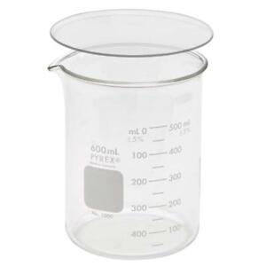 Corning Pyrex 1000 600 600ml Low Form Griffin Beaker W Pyrex 9985 100 Cover