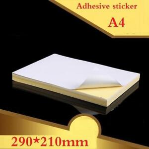 100sheets New A4 Size White Blank Glossy Matt Sticker Paper Label Printing Paper