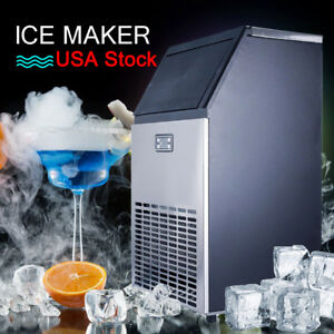 100lb 24h Commercial Househould Kitchen Restaurant Bar Ice Cube Maker Machine