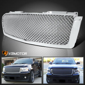 2007 2014 Chevy Avalanche Tahoe Suburban Chrome Abs Front Upper Mesh Hood Grille