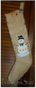 Snowman S Star Garland Handpainted Christmas Stocking Primitive Folk Art Country