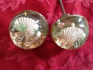 Vintage Glass Knobs With Seashell Insert