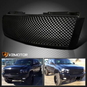 2007 2014 Chevy Avalanche Tahoe Suburban Glossy Black Abs Upper Mesh Hood Grille