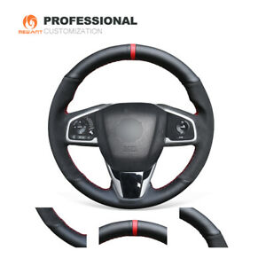 Diy Black Suede Leather Steering Wheel Cover For Honda Civic 10 Crv Cr V Clarity