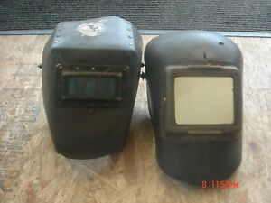 2 Vintage Wwii Era 1940s Fiber Paper Rivet Welding Helmet Made By Forney Lot