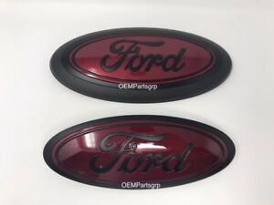 2015 2020 Ford F150 Custom Grille tailgate Emblem Set Flat Black Ruby Red rr