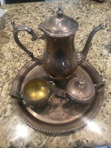 Wm Rogers Vintage Silverplate Coffee Tea Service 4 Piece Set