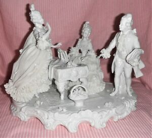 Outstanding Large White Unterweissbach Dresden Porcelain Lace Figurine