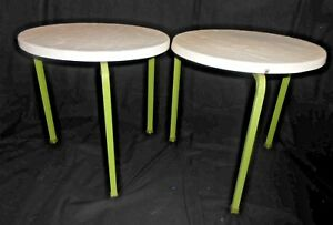 2 Vintage Mid Century Modern Fiberglass Stacking Patio Tables Green Metal Legs