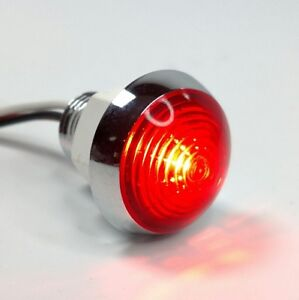 1 1 4 Dual Function Red Led Marker Light Vintage Classic Mini Moon Chrome
