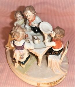 Scheibe Alsbach Kister German Antique Porcelain Kids At Dining Table Figurine