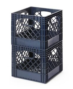 Milk Crate Storage Bins Stackable Blue Navy 2 pk Fast Free Shipping Made In Usa