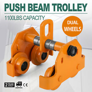 1 2 Ton Push Beam Track Roller Trolley Overhead Washers Included Solid Steel