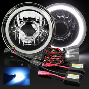 7 Round Hi power 3d White Smd Halo Black Crystal Projector Headlight 10000k Hid