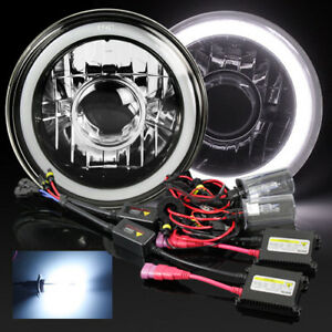 7 Round H6024 Black Crystal 3d White Smd Halo Projector Headlight 8000k Hid Kit