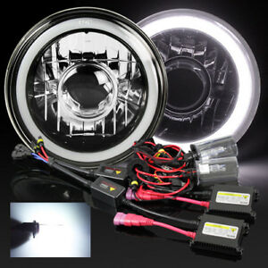 7 Round H6024 Black Crystal 3d White Smd Halo Projector Headlight 6000k Hid Kit