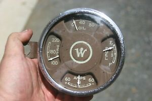 45 51 White Willys Truck Gauge Cluster Oil Amp Water Temp Fuel Gas Vintage