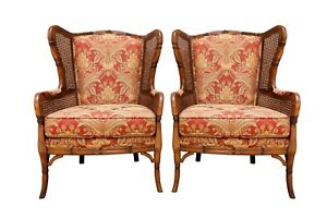 Faux Bamboo Caned Wingback Chairs A Pair