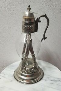 Antique Silverplate English Silver Glass Coffee Warmer Server Pitcher Usa
