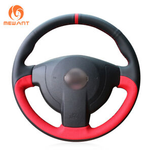 Black Red Leather Steering Wheel Cover For Nissan Qashqai X trail Nv200 Rogue