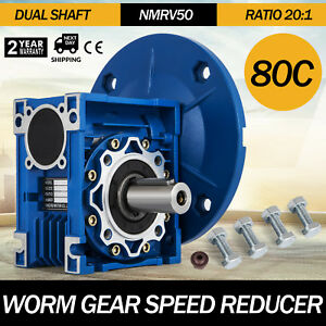 1 Set Nmrv050 Worm Gear Speed Reducer Ratio 20 1 Double Out Shaft Good Pro