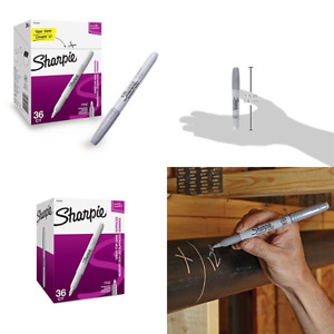 Sharpie 2003899 Metallic Permanent Markers Fine Point Silver 36 Count