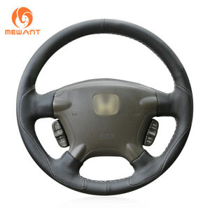 Hand Diy Safe Black Leather Steering Wheel Cover For Honda Crv Cr V 2002 2006
