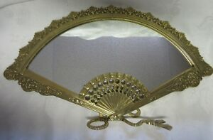 Vintage Art Nouveau Italy Standing Fan Mirror 15 3 8 Wide Ornate Brass Vanity