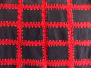 Vintage Unique Red Black Wool Coverlet With Crochet Work Blanket Quilt 48 X 90