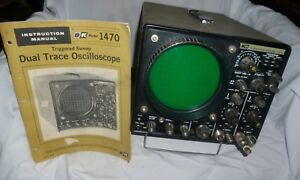 Vintage B k Bk 1470 Triggered Sweep Dual Trace Oscilloscope W Manual Powers On