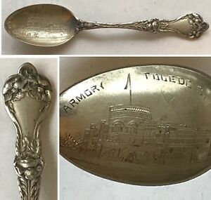 Antique Alvin 1900 Majestic Pattern Sterling Armory Toledo Ohio Souvenir Spoon