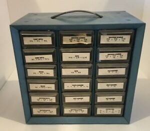 Vintage Akro mils Akron Ohio Metal 18 Drawer Storage Cabinet Bin Nuts Bolts Nail