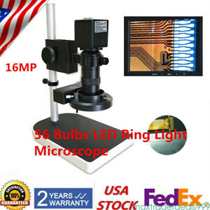 16mp 1080p Hdmi Digital Microscope Industry Camera 10 180x Zoom W Stand Sets Us