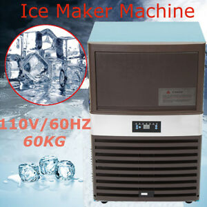 60kg 110v Commercial Ice Cube Maker Machines Freezers Frozen Bar Us Plug 60hz
